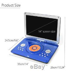16'' Portable DVD/CD Player Car Remote Rechargeable 270° Rotation LED HD Screen