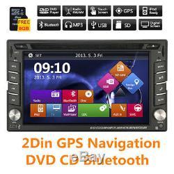 2 DIN GPS Navigation HD Car Stereo DVD CD Player FM AM Bluetooth Auto Radio iPod
