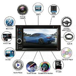 2DIN Car Stereo Radio CD DVD Player BT USB FM AUX Receiver Mirror Link For GPS