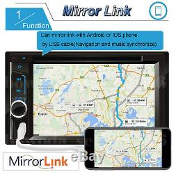 2Din Car Stereo Radio CD DVD Player BT Mirror Link For GPS with Rear Camera