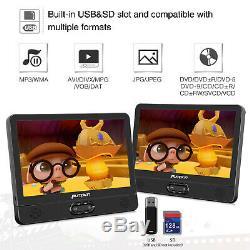 2x 12'' Car Headrest Monitor DVD Player USB/SD/ TFT LCD Screen AV-IN Headphone