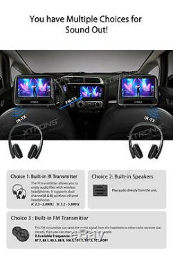 2x 9LCD Monitor Car Seat Pillow Cover Headrest CD DVD Player Game+IR Headphones