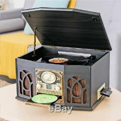 5in1 Music System Hi-Fi FM Radio CD Stereo Record Player USB Speakers Turntable