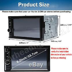 6.2 Double 2 Din Car Stereo CD DVD Player Radio Bluetooth with Backup Camera US
