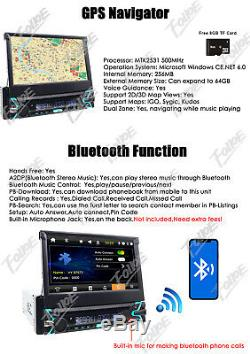 7 1Din Touch Screen Car Stereo DVD CD Player Radio GPS NAVIGATION BT USB AUX SD