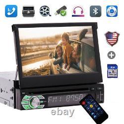 7 Single 1Din Car Radio Player Flip Stereo Bluetooth Touch Screen DVD CD+Camera