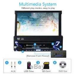 7 in Car DVD CD Player Stereo Flip Out Touch Screen Radio 1 DIN + Reverse Camera