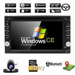 Backup Camera&GPS Double 2Din Car Stereo Radio CD DVD Player Bluetooth + US Map