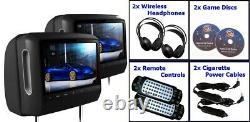 Black Dual 9 Touch Screen Headrest DVD Player Monitors Games CD NO HEADPHONES
