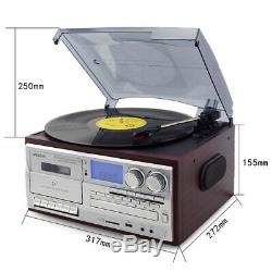Bluetooth LP Vinyl Record Player Turntable CD/Cassette/Radio/USB with Speakers