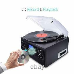 Bluetooth Record Player Vinyl Turntable to MP3 CD Cassette Player AM/FM Radio
