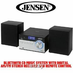 Bookshelf Stereo System Bluetooth Cd Player AM FM Radio Home Audio Compact Black