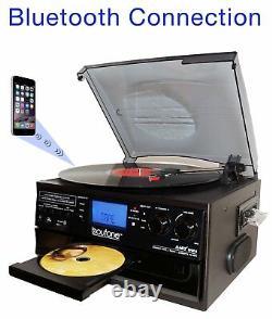 Boytone BT-22B Bluetooth Record Player Turntable AM/FM Cassette CD/MP3/SD/USB