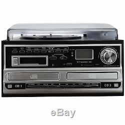 CD Recorder Lp Cassette Player Turntable Stereo Speakers Fm Radio Bluetooth Usb