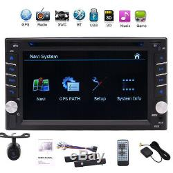 Camera&GPS Double 2Din Stereo Radio Car CD DVD Player Bluetooth +Map