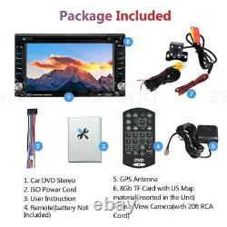 Car Stereo DVD CD Multimedia Player Radio GPS Touch Screen BT USB 2DIN with Camera