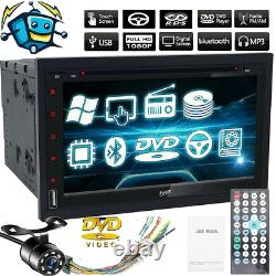 Double 2 Din Car Stereo TV CD DVD Player Radio Bluetooth SWC Unit Backup Camera