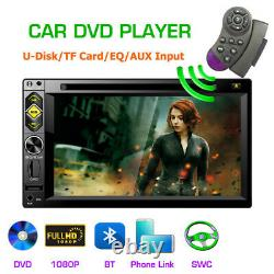 Double 2DIN 6.2 Car Stereo Radio DVD CD Player Bluetooth USB TF MP5 Mirror Link