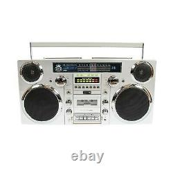 GPO Brooklyn 1980S-Style Portable Boombox CD Player, Cassette Player, FM &