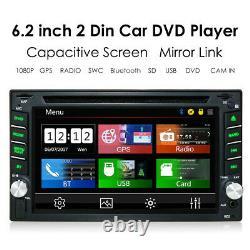 GPS Navi Map Bluetooth Car Stereo 6.2 Radio CD DVD Player Double 2 Din + Camera