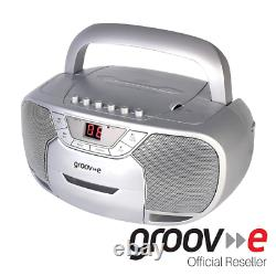 GROOV-E CLASSIC BOOMBOX PORTABLE CD & CASSETTE PLAYER With RADIO SILVER GVPS823SR