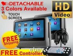Gray Dual 9 Touch Screen Headrest LCD Car Monitor CD DVD Player No Headphones