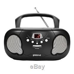 Groov-e Boombox Portable CD Player With Radio And Headphone Jack Black
