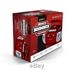 Groov-e Retro Boombox Portable CD Cassette And Fm Radio Player Red