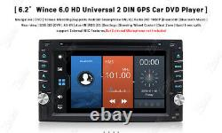 HD 6.2 Double 2 Din Car Stereo Radio CD DVD Player Bluetooth In Dash GPS+Camera