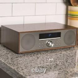 NEW Crosley CR3501A-WA Fleetwood Clock Radio & CD Player with Bluetooth Walnut