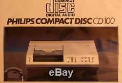 PHILIPS CD-100 first cd player serviced + new laser + very rare accessoires