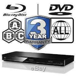 Panasonic 3D Blu-ray Player Multi Region All Zone Free DMP-BDT370EB 4K Upscaling