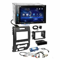 Pioneer 2018 DVD Bluetooth Stereo Dash Kit SWC Amp Harness for 09-14 Ford F-150