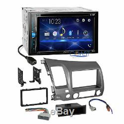 Pioneer 2018 DVD Bluetooth Stereo Taupe Dash Kit Harness for 06-11 Honda Civic