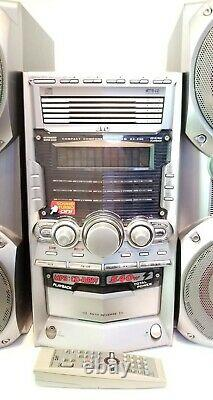 Rare Vintage JVC HX-Z30 Shelf Stereo System With Speakers Dual Subwoofer 5 CD Tape