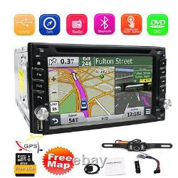 Rear Camera&GPS Double 2Din Car Stereo Radio CD DVD Player Bluetooth with Map