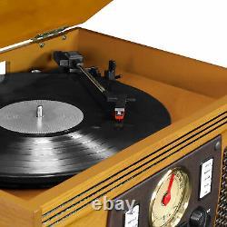 Record Player 8-in-1 Nostalgic Bluetooth 3-Speed Turntable CD Cassette FM Radio