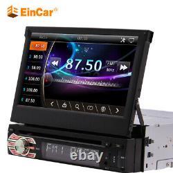 Single 1 DIN 7 HD Flip Up GPS Navigation Car Stereo CD DVD MP5 Player Radio BT