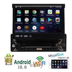 Single 1 DIN 7Android 10.0 DVD Flip Up GPS Navi Car Stereo Radio CD Player 32GB