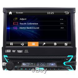 Single 1Din 7 Flip Up Car Stereo DVD CD Radio Player GPS Touch Screen+US Camera