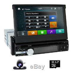 Single 1Din 7 Flip Up Car Stereo DVD CD Radio Player Touch Screen+Rear camera