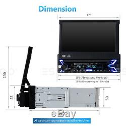 Single DIN Car DVD CD MP5 Player Radio 7 HD Flip Out Touch Screen FM USB SD AUX
