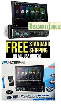 Soundstream 1 Din VR-75B DVD/CD/MP3 Player Flip Up 7 LCD Bluetooth USB AUX-NEW