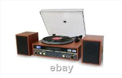 TechPlay Commander Wood Record Player Turntable Stereo System Bluetooth CD/MP3