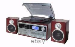 TechPlay ODC128BT Wood Stereo with Record Player Turntable Bluetooth CD Cassette