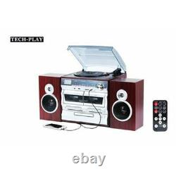 TechPlay ODCK110 Bluetooth Stereo System Karaoke Record Player CD Cassette NEW