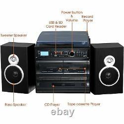 Trexonic 3-Speed Vinyl Turntable 33 45 78 Home Stereo System CD Player Cassette