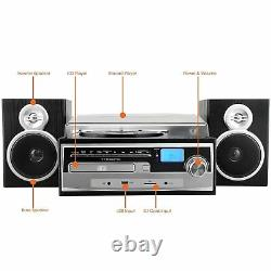 Trexonic 3-Speed Vinyl Turntable Home Stereo System CD Player FM Radio Bluetooth