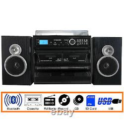 Trexonic 811-BS 3-Speed Vinyl Turntable Record CD Player Dual Cassette USB FM SD