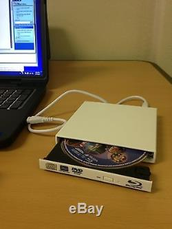 White USB External Blu Ray Combo Drive CD/DVD Burner 2x BD Player PC/Mac